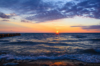 Print featuring the photograph Sunrise Lake Michigan August 8th 2013 001 by Michael  Bennett