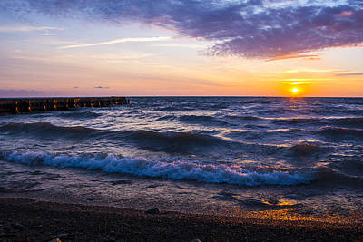 Print featuring the photograph Sunrise Lake Michigan August 8th 2013 004 by Michael  Bennett