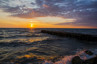 Print featuring the photograph Sunrise Lake Michigan August 8th 2013 005 by Michael  Bennett