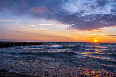 Print featuring the photograph Sunrise Lake Michigan August 8th 2013 007 by Michael  Bennett