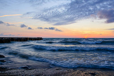 Print featuring the photograph Sunrise Lake Michigan August 8th 2013  by Michael  Bennett