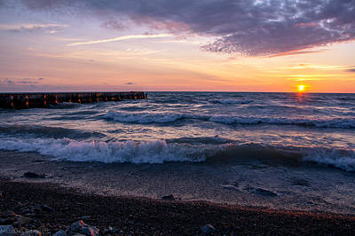 Print featuring the photograph Sunrise Lake Michigan August 8th 2013 Wave Crash by Michael  Bennett