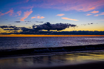 Print featuring the photograph Sunrise Lake Michigan September 14th 2013 002 by Michael  Bennett