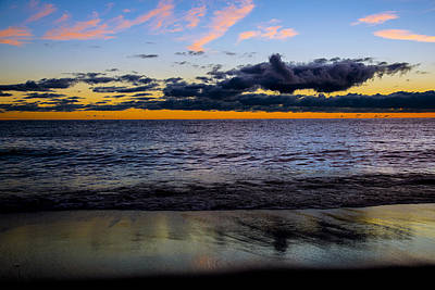Print featuring the photograph Sunrise Lake Michigan September 14th 2013 003 by Michael  Bennett
