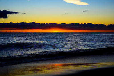 Print featuring the photograph Sunrise Lake Michigan September 14th 2013 008 by Michael  Bennett