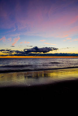 Print featuring the photograph Sunrise Lake Michigan September 14th 2013 010 by Michael  Bennett