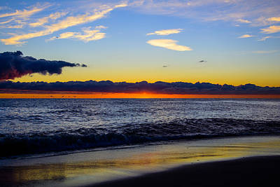 Print featuring the photograph Sunrise Lake Michigan September 14th 2013 012 by Michael  Bennett