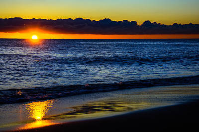 Print featuring the photograph Sunrise Lake Michigan September 14th 2013 015 by Michael  Bennett