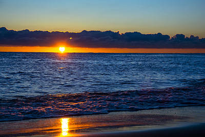 Print featuring the photograph Sunrise Lake Michigan September 14th 2013 016 by Michael  Bennett