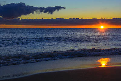 Print featuring the photograph Sunrise Lake Michigan September 14th 2013 020 by Michael  Bennett
