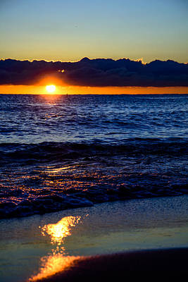Print featuring the photograph Sunrise Lake Michigan September 14th 2013 021 by Michael  Bennett
