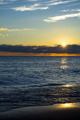 Print featuring the photograph Sunrise Lake Michigan September 14th 2013 025 by Michael  Bennett