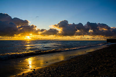 Print featuring the photograph Sunrise Lake Michigan September 2nd 2013 004 by Michael  Bennett
