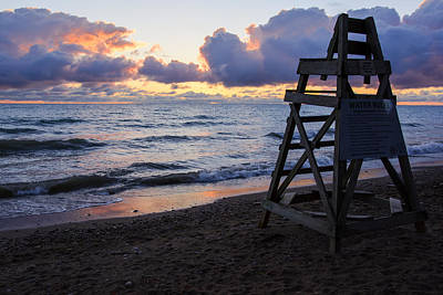 Print featuring the photograph Sunrise Lake Michigan September 2nd 2013 005 by Michael  Bennett