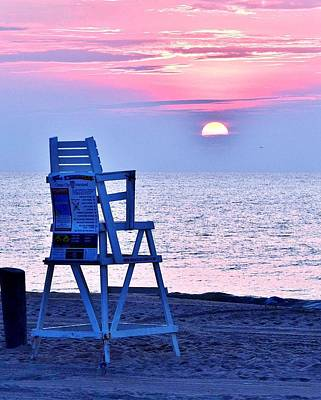 Photograph - Sunrise Lifeguard Chair by Kim Bemis