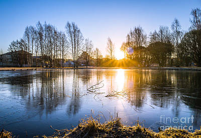 Sunrise Magic At The Icy Pond In Spring Art Print