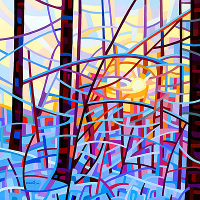 Winter Abstract Painting - Sunrise by Mandy Budan
