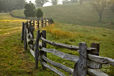 Split Rail Fence Photograph - Sunrise Meadow - Blue Ridge Parkway I by Dan Carmichael