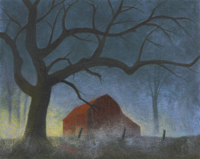 Old Barn Painting - Sunrise Mist by Garry McMichael