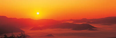 Orange Sun Photograph - Sunrise Mt Taisetsu National Park by Panoramic Images