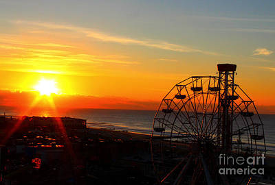 Sunrise Ocean City Boardwalk Art Print
