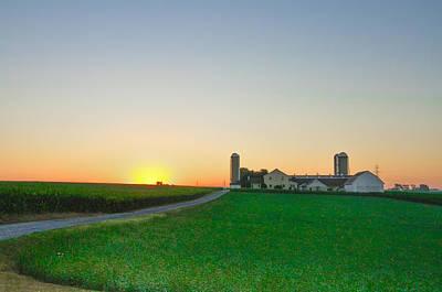 Pennsylvania Barn Digital Art - Sunrise On A Lancaster County Farm by Bill Cannon