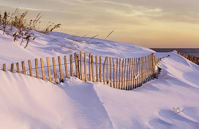 Sunrise On Beach Fence Art Print by Betty Denise