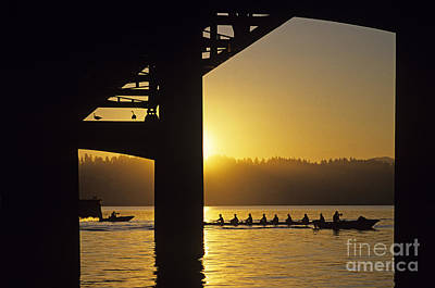 Photograph - Sunrise On Lake Washington Below Bridge With Eight Woman Crew by Jim Corwin