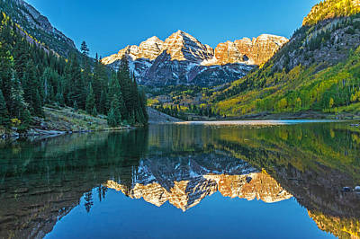 Photograph - Sunrise On Maroon Bells by Willie Harper