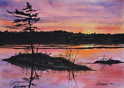 Refection Painting - Sunrise On Merrymeeting Bay Maine by Kellie Chasse