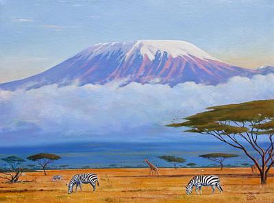 Kilimanjaro Painting - Sunrise On Mount Kilimanjaro by James Zeger