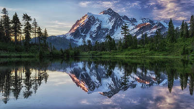 Water Reflections Photograph - Sunrise On Mount Shuksan by James K. Papp