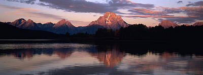 Sunrise On Mountain Peaks Reflected Art Print
