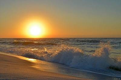 Photograph - Sunrise On Navarre Beach With Wave Action by Jeff at JSJ Photography