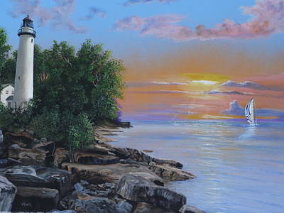 Painting - Sunrise On Point Aux Barques by Vicky Path