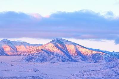 Sunrise On Snow Capped Mountains Art Print by Tracie Kaska