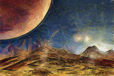Science Fiction Drawing - Sunrise On Space by Ayse Deniz