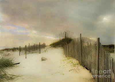 Beach Fence Digital Art - Sunrise On The Beach by Betty LaRue