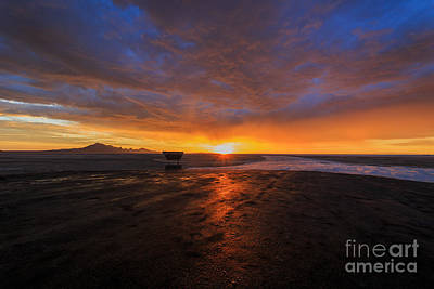 Mirage Photograph - Sunrise On The Bonneville Salt Flats by Holly Martin