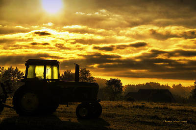 Bed Quilts Digital Art - Sunrise On The Deere by Thomas Woolworth