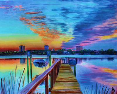 Mixed Media - Sunrise On The Dock by Deborah Boyd