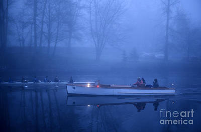 Photograph - Sunrise On The Montlake Cut Crew Rowing On Calm Waters With Coac by Jim Corwin