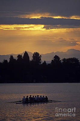Photograph - Sunrise On The Montlake Cut With Eight Man Crew Rowing Stormy We by Jim Corwin