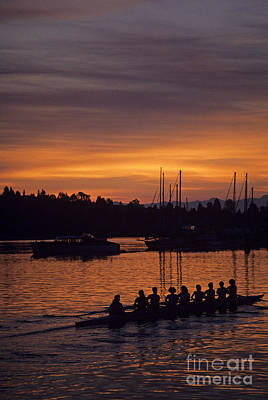 Photograph - Sunrise On The Montlake Cut With Eight Women Crew Rowing  by Jim Corwin