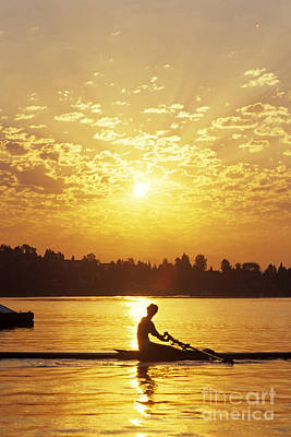 Photograph - Sunrise On The Montlake Cut Woman Rowing On Calm Waters by Jim Corwin
