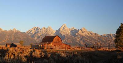 Photograph - Sunrise On The Mormon Barn by Jean Clark