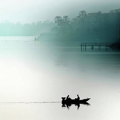 Green Boat Photograph - Sunrise On The Nile by Piet Flour