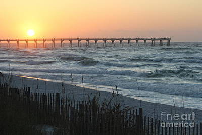 Sunrise On The Pier Art Print by Michelle Powell