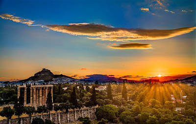Print featuring the photograph Sunrise On The Temple Of Olympian Zeus by Micah Goff
