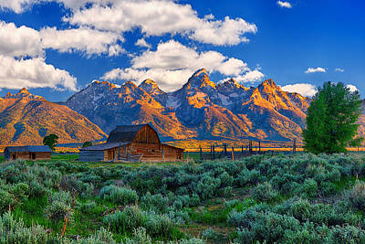 Barn Photograph - Sunrise On The Tetons Limited Edition by Greg Norrell
